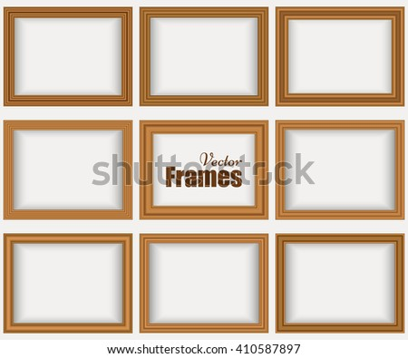 set of wooden realistic frames with shadow isolated on the white wall vector - Wooden Picture Frames