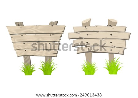 Set of Wooden sign boards on a grass. Vector Illustration isolated on white - stock vector