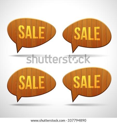 Set of wooden sign speech bubbles. 3D vector template for design - stock vector