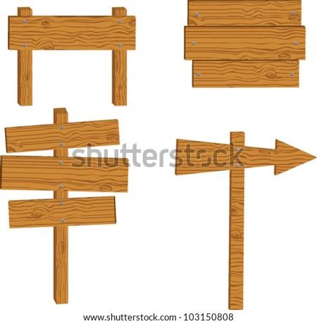 set of wooden sign vector - stock vector