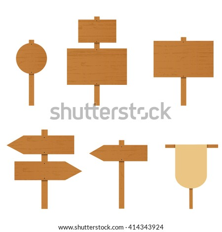 Set of wooden signs. A plywood Board. The direction arrow on the road. Place for ads. Rural Road sign. Wooden arrow pointer. Vector illustration. - stock vector