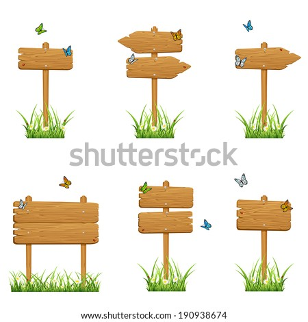 Set of wooden signs in a grass with butterflies isolated on white background, illustration. - stock vector