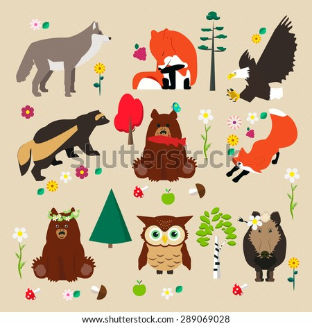 Set of woodland. Some trees: birch, pine, fir; flowers, mushroom and animal: wolf, fox, eagle, wolverine, bear, owl, boar. Vector illustration. - stock vector