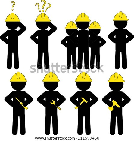 Set of workers icon - stock vector
