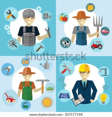Set of workers, Mechanic, Gardener, Construction Worker and Farmer - stock vector