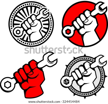 Set of Working class logo. Hand holding wrench, spanner vector logo. - stock vector