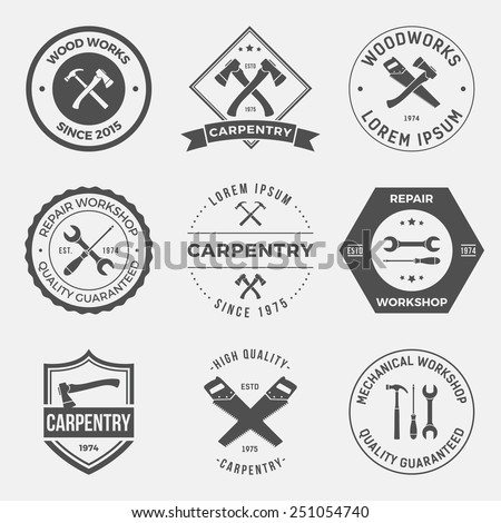 set of working tools, carpentry, workshop labels, logos, badges and design elements - stock vector