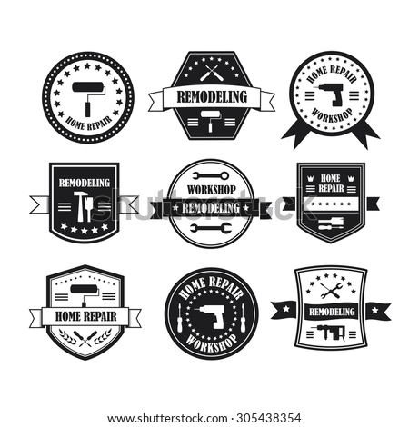 Set of working tools, carpentry, workshop labels, logos, badges and design elements. Home repair panting service design labels set. Vector illustration - stock vector