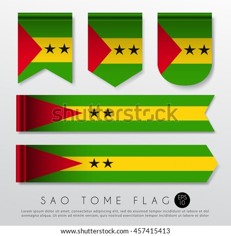Set Of World Flag Ribbon Template : Vector Illustration