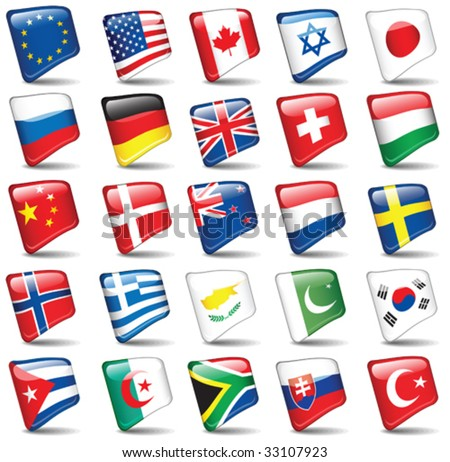 Set of world flags. All elements and textures are individual objects. Vector illustration scale to any size. - stock vector