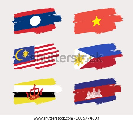 Set of World Flags in Grunge Brush Stroke : Vector Illustration