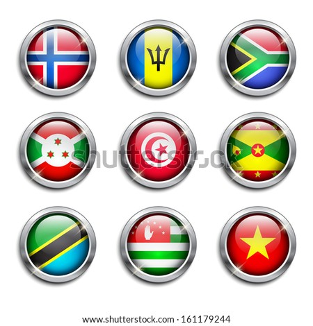 Set of world flags round buttons, vector illustration - stock vector