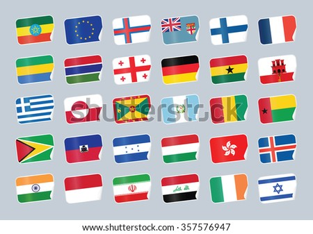 Set of world flags. Shop tag