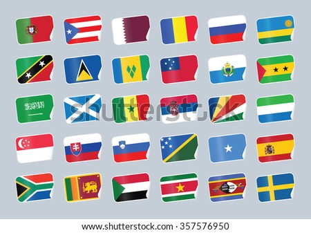 Set of world flags. Shop tag with flags  - stock vector