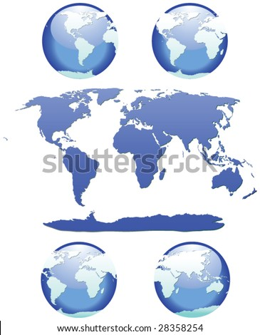 Set of World Globes - Each globe is on it's own layer for easy editing - map is also on it's own layer