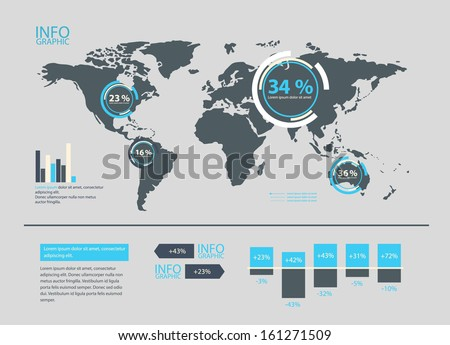 Set world map infographics elements stock vector 161271509 set of world map and infographics elements gumiabroncs