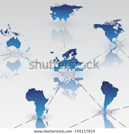 Set of world map continents on blue background with shadow vector - stock vector
