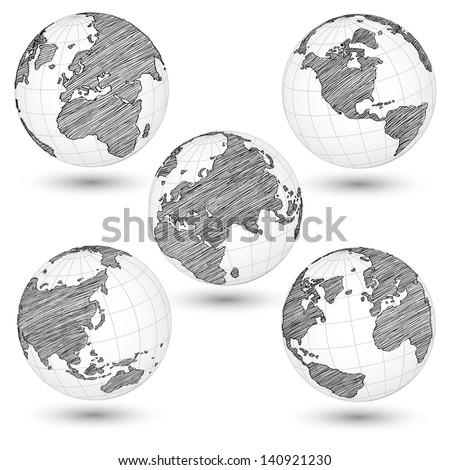 Set of World Map Earth Globe Vector line Sketched Up Illustrator, EPS 10. - stock vector