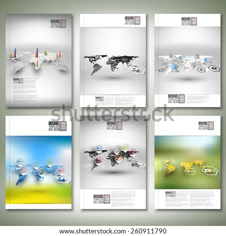 Set of world maps in perspective, blurred infographic vectors. Brochure, flyer or report for business, templates vector. - stock vector