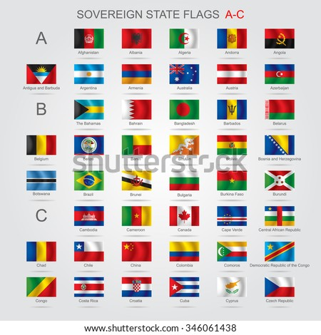 Set of world sovereign state and flags with captions in alphabet order.  Vector illustration - stock vector