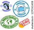 Set of world traveler grunge rubber stamps on white, vector illustration - stock vector