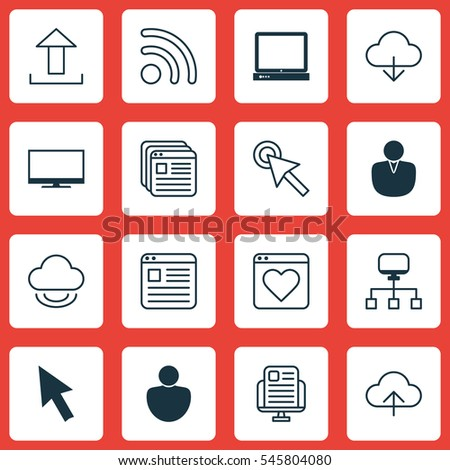 Set 16 World Wide Web Icons Stock Vector 545804080 Shutterstock