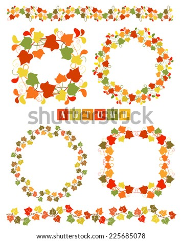 Set of wreaths and dividers with colorful Autumn leaves. Isolated design elements. Fall leafage colors. Collection of frames or border Autumn theme. Copy space. Vector file is EPS8. - stock vector