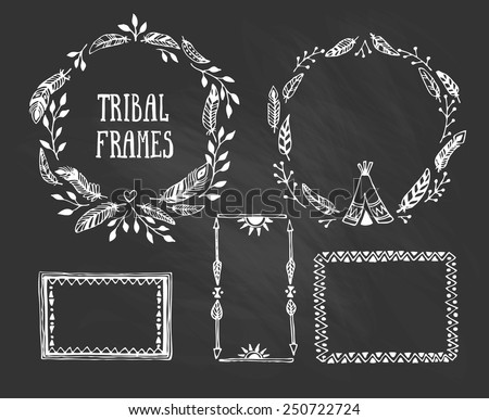 Set of wreaths and frames with place for your text. Vector illustration - stock vector