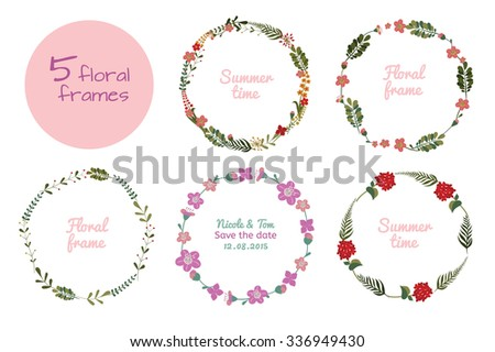 Set of wreaths of flowers and leaves. Floral frame. Editable Vector illustration on white background. Suitable for cards, decoration weddings and holidays, banners. - stock vector