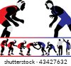 Set of wrestling action silhouette illustrations - stock vector