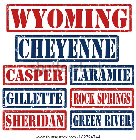 Set of Wyoming cities stamps on white background, vector illustration