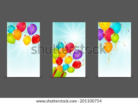 Set of 240 x 400 banners with balloons - stock vector
