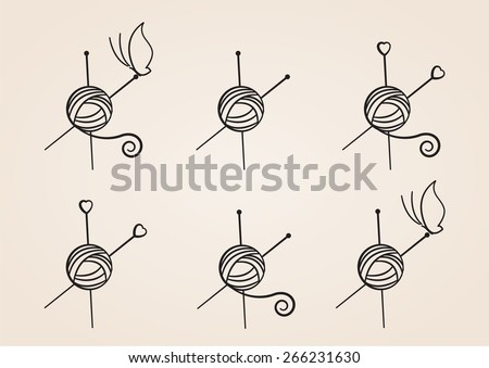 Set of Yarn Ball Logos - stock vector