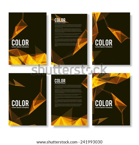 Set of Yellow and Orange Modern Abstract Flyers  - EPS10 Brochure Design Templates - stock vector