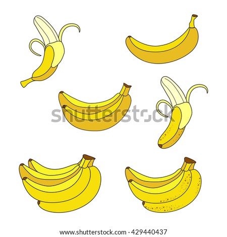 Set of Yellow Bananas. Collection of Different Overripe Bananas, Single Banana , Peeled Banana, Bunch of Bananas.