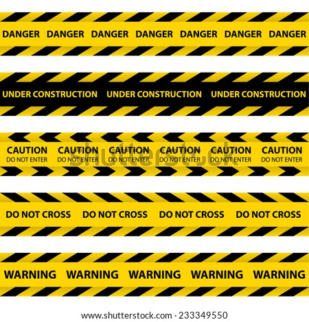 Set of yellow Barrier Tapes, police tapes, Caution line and danger tapes. Do not cross.  - stock vector