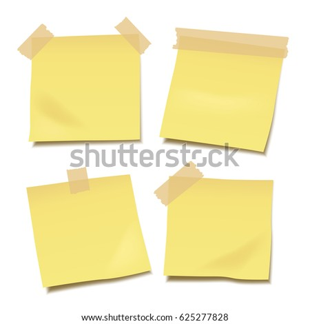 Set of yellow blank vector post-it notes with paper tape isolated on white background