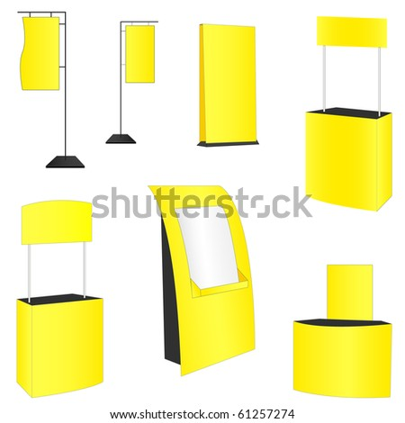 set of 7 yellow display. vector illustration - stock vector