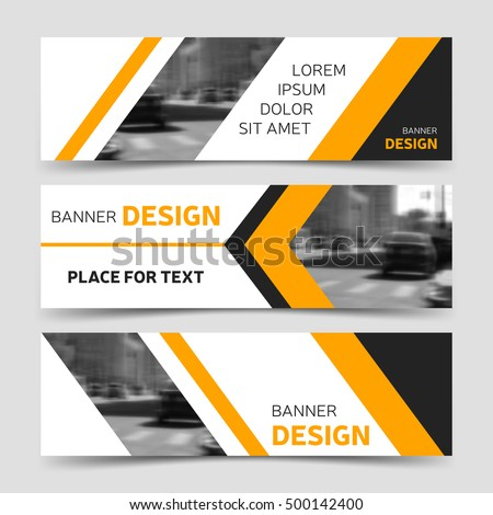 Set Three Yellow Horizontal Business Banner Stock Vector 546686203 ...