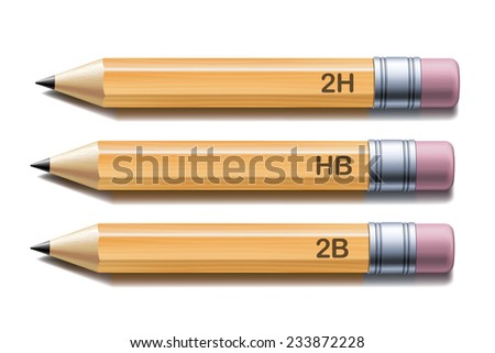 Set of yellow pencils isolated on white background. Vector illustration - stock vector