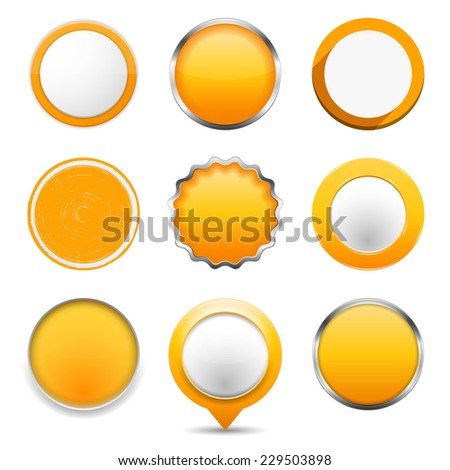 Set of yellow round buttons on white background, vector eps10 illustrarion - stock vector