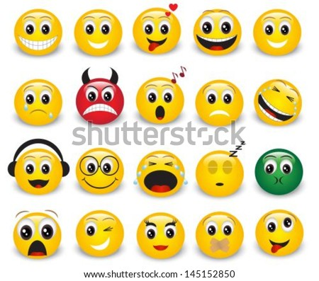 Set of yellow round expressive emoticons on white background  - stock vector