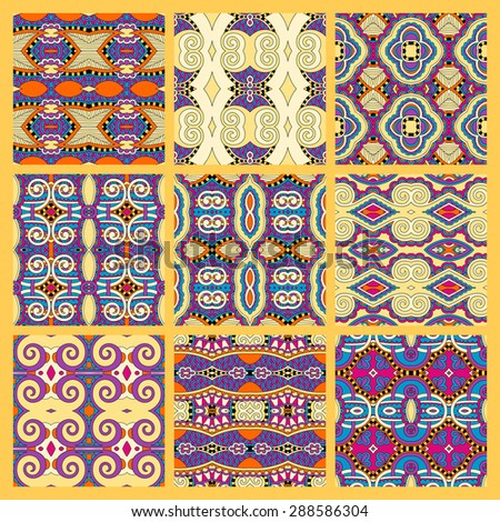 set of yellow seamless colored vintage geometric pattern, texture for wallpaper, web page background, fabric and wrapping paper design, vector illustration - stock vector