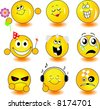 Set of yellow smileys - stock vector