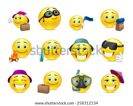 Set of yellow smileys are sent to summer vacation travel - stock vector
