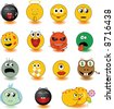 Set of yellow smileys. Vector illustration. See other set in my portfolio - stock vector