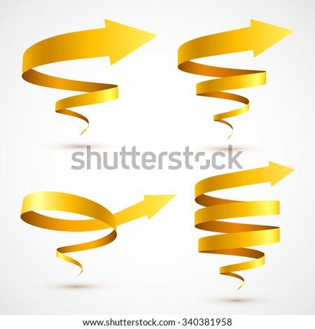 Set of yellow spiral arrows 3D. - stock vector