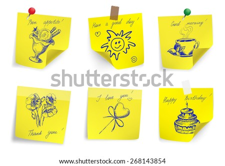 Set of yellow sticker paper note. Vector illustration. - stock vector