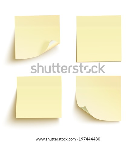Set of yellow sticky notes isolated on white background. Vector illustration - stock vector