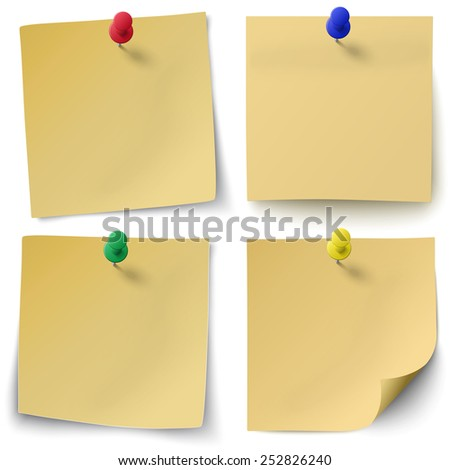 Set of yellow sticky notes isolated on white background with red, green, blue push-pins. - stock vector